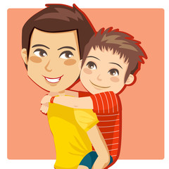 Father giving his little boy piggyback ride smiling