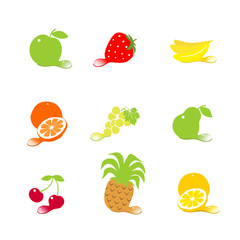 set fruit icons with drops