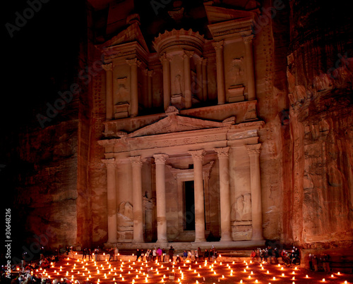 The treasury at Petra by night, Lost rock city of Jordan.