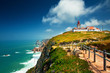 Leinwanddruck Bild - Nice view of a lighthouse with the ocean in Portugal