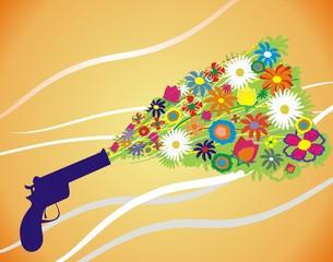 bouquet from gun pistol