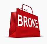 Broke and bankrupt shopping bag symbol poster
