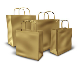 Brown paper shopping bags in a group representing sales