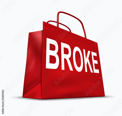 Broke and bankrupt shopping bag symbol