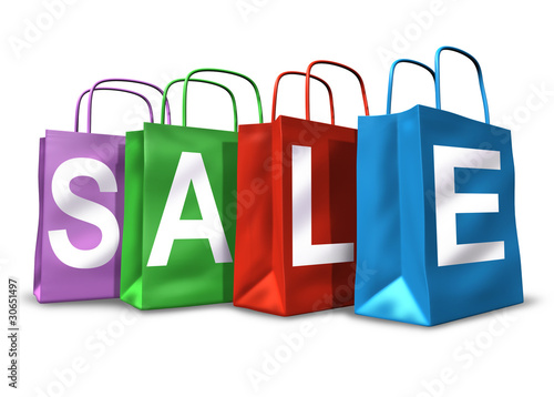 Shopping bags with the word sale