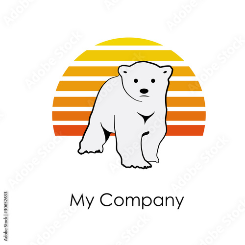 Logo Bear and sun # Vector