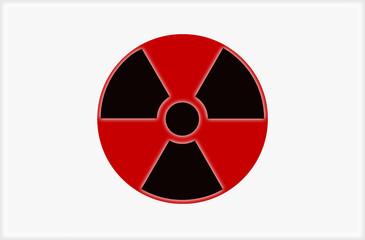 Japanische Fahne mit Zeichen für Radioaktivität