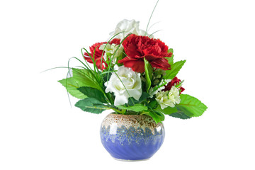 isolated beautiful red and white roses bouquet in blue vase
