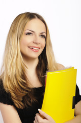 Happy female student holding files