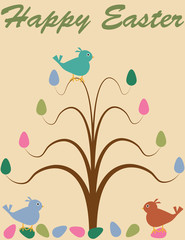 Retro Easter Tree Background