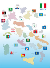 italy region map exploded with flags