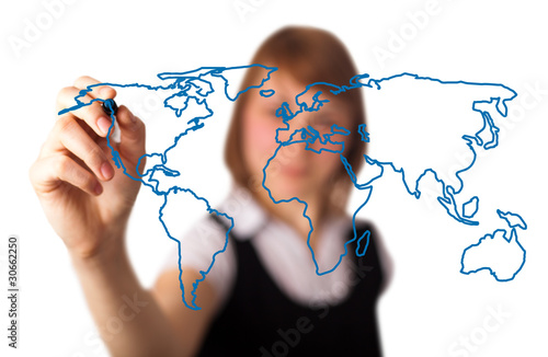 woman drawing the world map in a whiteboard 3