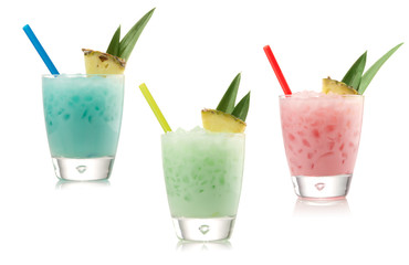 blue, green and red cocktail on a white