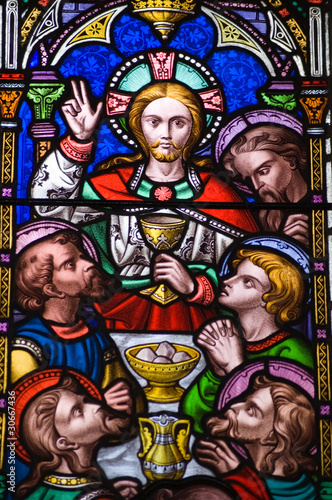 Last Supper Stained Glass window - 30667436
