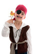 Pirate with pet lovebird (small parrot)