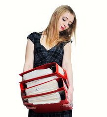 Businesswoman with stack of files