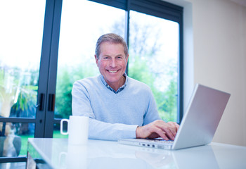 Smiling man using laptop at table