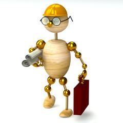 3d wood man engineer