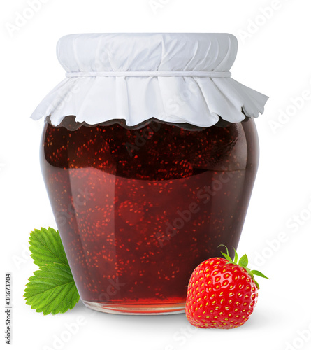Strawberry jam on white
