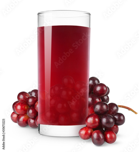 Isolated drink. Bunch of red grapes and glass of grape juice isolated on white background