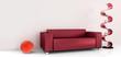 rote polstercouch mit dekor