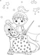 The Brave Knight on the horse coloring page