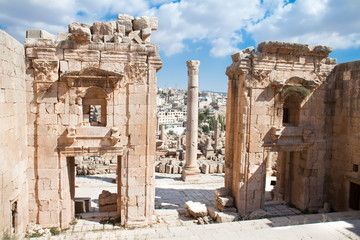 The Propylaea - a monumental gate of the Artemis Temple .Jerash