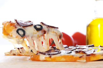 Pizza with melted cheese
