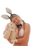 Smiling Bunny girl with cuddly toy poster