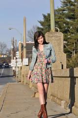 teen girl walking in the city