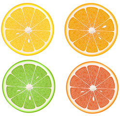 Lemon, lime, orange,grapefruit
