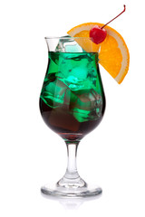 Dark green tropical cocktail