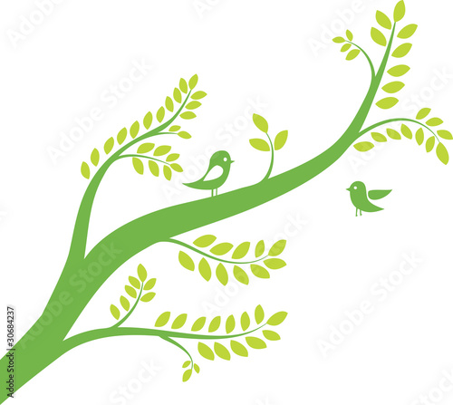 spring tree with birds. Vector illustration