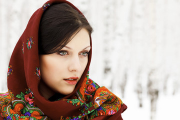 Gorgeous woman in shawl.