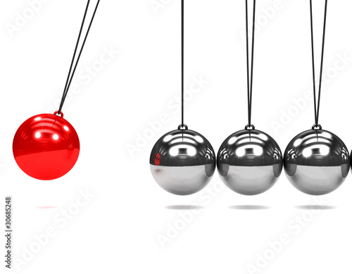 3d Newtons cradle red ball