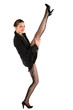Girl in black suit takes leg up.