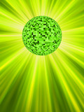 Sparkling green discoball. EPS 8 poster