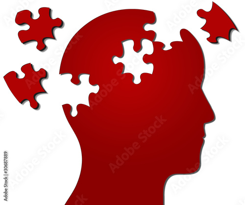 Profile of head with jigsaw pieces missing