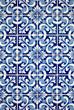 Blue tiles detail of Portuguese glazed