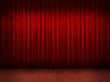 Red curtain with wooden floor