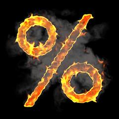 Burning and flame font percent symbol