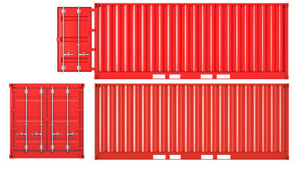 Opened and closed container front and side view