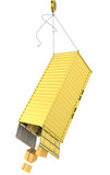 Yellow container falling after accidentally detaching hooks poster