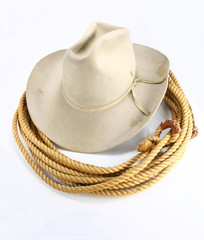 Old silverbelly hat with rope