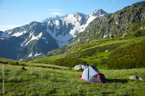 Camp in the high mountains