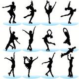 Fototapety Figure skating silhouettes
