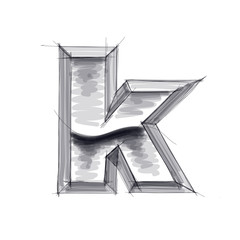 3d metal letters sketch - k. Eps10
