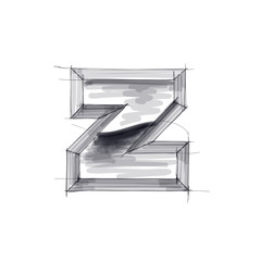 3d metal letters sketch - z. Eps10