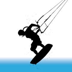 Kitesurfer, surfing
