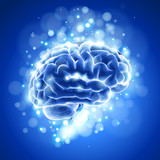 Brain, bokeh abstract light & blue background